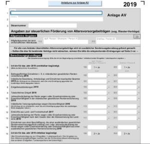 Riester Steuererklärung Anlage AV